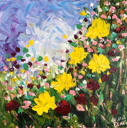 Painting by Giselle Denis Canadian fine artist of yellow wildflowers with red ones under a purple sky.