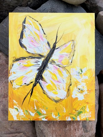 Painting by Giselle Denis Canadian fine artist of a white butterfly on a yellow background.