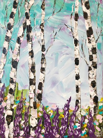 Painting by Giselle Denis Canadian fine artist of birch trees with purple flowers.