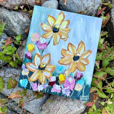 Painting by Giselle Denis Canadian fine artist of brown eyed susans with pink and red and blue flowers.