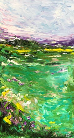 Painting by Giselle Denis Canadian fine artist of an abstract landscape wth a blue and purple sky and green blue land.