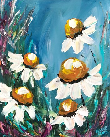 Painting by Giselle Denis Canadian fine artist of white daisies on e blue background.