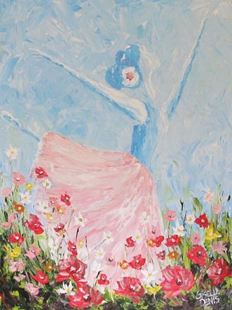 Painting by Giselle Denis Canadian fine artist of a ballerina dancer dancing in a filed of flowers.