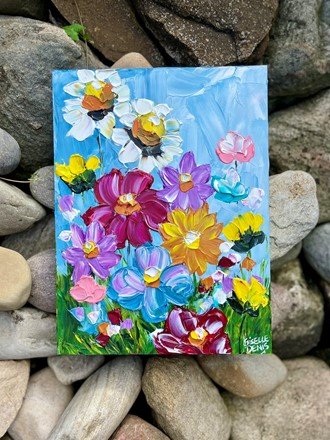 Painting by Giselle Denis Canadian fine artist of colourful wildflowers on a blue sky background.