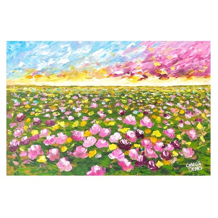 Painting by Giselle Denis Canadian fine artist of a colourful field of flowers under a colourful sky.