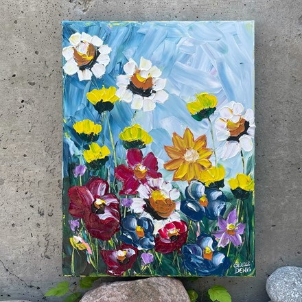 Painting by Giselle Denis Canadian fine artist of colourful wildflowers.