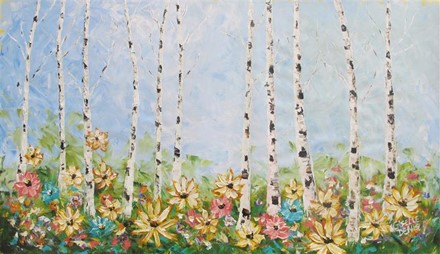 Painting by Giselle Denis Canadian fine artist of birch trees with colourful wildflowers