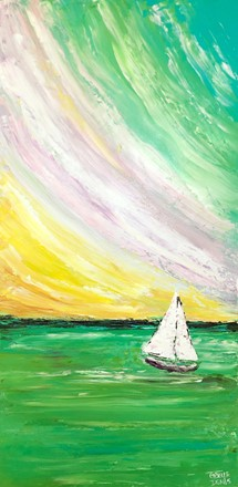 Painting by Giselle Denis Canadian fine artist of a white sailboat on a ocean with a green, blue, pink and purple sky.