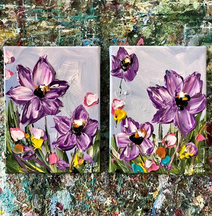 Painting by Giselle Denis Canadian fine artist of purple flowers as a diptych, set of two paintings.