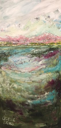 Painting by Giselle Denis Canadian fine artist of a colourful landscape with mountains, pinks, whites, green and blues