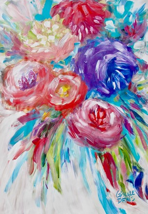 Painting by Giselle Denis Canadian fine artist of abstracted red, pin, purple and blue flowers on a white background.