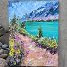 Painting by Giselle Denis Canadian fine artist of mountains with a lake, trees and a pathway with some flowers in the foreground.