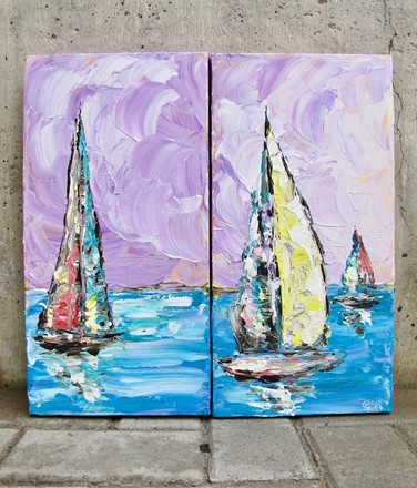 Painting by Giselle Denis Canadian fine artist of three colourful sailboats on the ocean under a purple sky