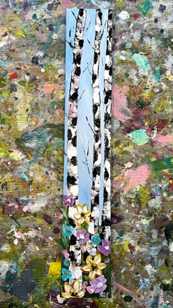 Painting by Giselle Denis Canadian fine artist of three birch trees with purple, blue and yellow flowers in the foreground.