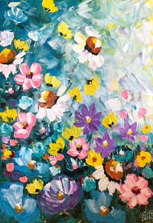 Painting by Giselle Denis Canadian fine artist of white, yellow, pink, purple and blue wildflowers under a blue sky.