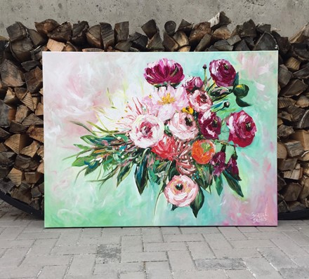 Painting by Giselle Denis Canadian fine artist of pink, red and burgundy flowers in a floating bouquet