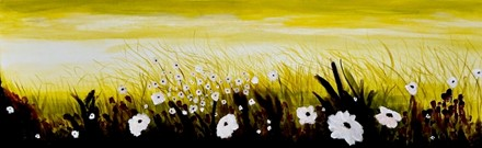 Painting by Giselle Denis Canadian fine artist of a field of white wildflowers under a yellow sky.