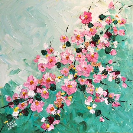 Painting by Giselle Denis Canadian fine artist of cherry blossom branches on a turquoise teal background.