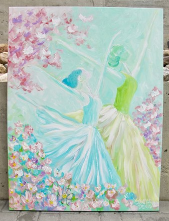 Painting by Giselle Denis Canadian fine artist of two ballerina dancers with butterflies dancing in a field of flowers.