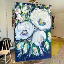 Painting by Giselle Denis Canadian fine artist of large white abstracted flowers with green, blue, purple and pink foliage.