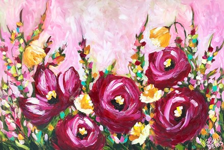 Painting by Giselle Denis Canadian fine artist of large magenta flowers on a pink background with colourful foliage.