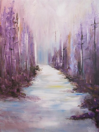 Painting by Giselle Denis Canadian fine artist of a purple forest with a pathway