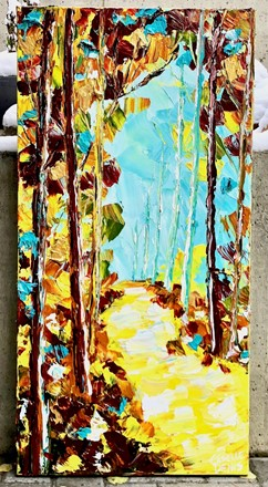 Painting by Giselle Denis Canadian fine artist of a fall forest with a yellow pathway under a blue sky.