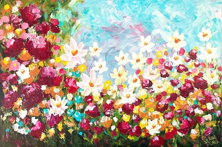 Painting by Giselle Denis Canadian fine artist of daisies and red flowers under a blue sky.