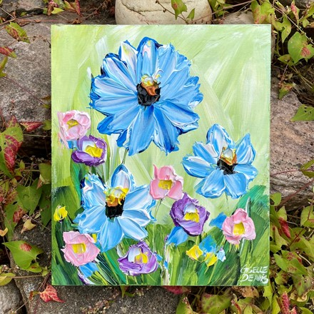Painting by Giselle Denis Canadian fine artist of blue, pink and purple flowers on a light green background.
