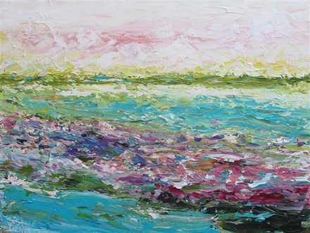 Painting by Giselle Denis Canadian fine artist of a colourful landscape  with pinks, blues, yellows, reds and purples