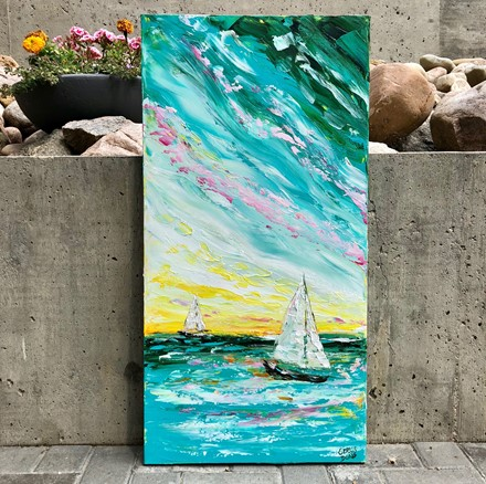 Painting by Giselle Denis Canadian fine artist of two sailboats on a colourful ocean and sky.