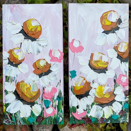 Painting by Giselle Denis Canadian fine artist of white daisies with pink and teal flowers.