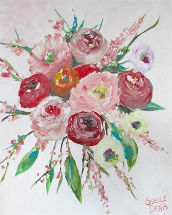 Painting by Giselle Denis Canadian fine artist of red, and pink flower bouquet arrangement on w white background