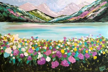 Painting by Giselle Denis Canadian fine artist of colourful mountains with a lake and a field of wildflowers.
