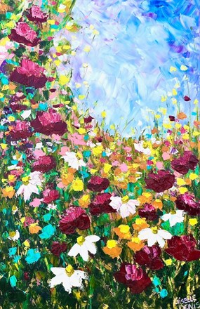 Painting by Giselle Denis Canadian fine artist of red & white and other colourful wildflowers under a blue sky.
