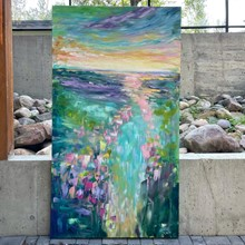 Painting by Giselle Denis Canadian fine artist of an colourful abstracted landscape.