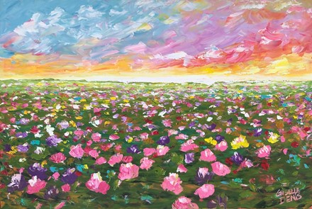 Painting by Giselle Denis Canadian fine artist of a field of colourful wildflowers under a sun set sky.