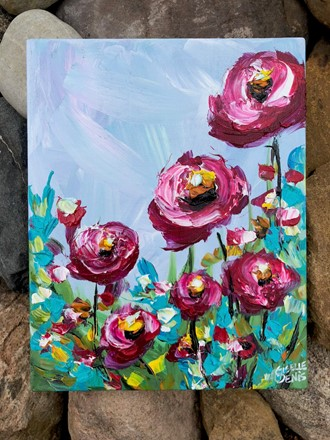 Painting by Giselle Denis Canadian fine artist of raspberry red flowers on a blue background with colourful foliage.