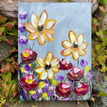 Painting by Giselle Denis Canadian fine artist of colourful wildflowers on a grey background.