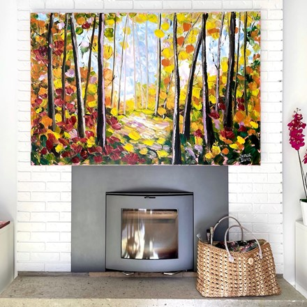 Painting by Giselle Denis Canadian fine artist of a fall forest with a golden pathway.