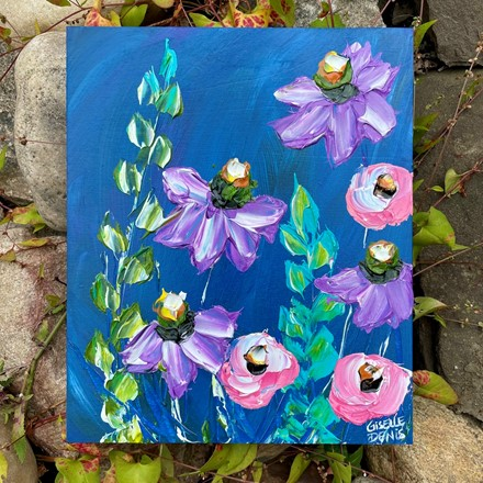 Painting by Giselle Denis Canadian fine artist of purple, pink and blue flowers on a dark blue background.