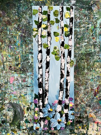Painting by Giselle Denis Canadian fine artist of birch trees with green leaves and blue flowers in the foreground.