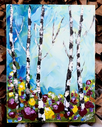 Painting by Giselle Denis Canadian fine artist of birch tree forest with colourful flowers the foreground under a blue sky.