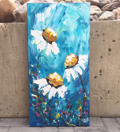 painting by Giselle Denis Fine Artist of daisies on a blue background