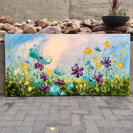 Painting by Giselle Denis Canadian fine artist of purple, teal and yellow field of wildflowers.