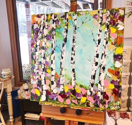 Painting by Giselle Denis Canadian fine artist of birch trees with colourful foliage.
