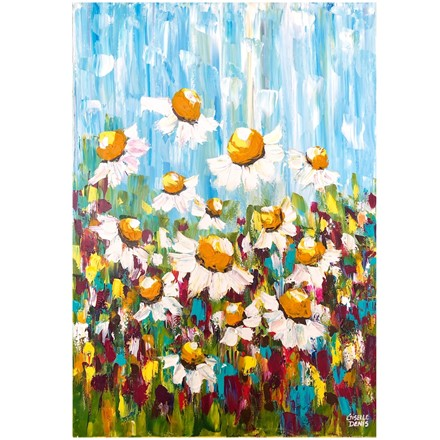 Painting by Giselle Denis Canadian fine artist of floating white daisies on a colourful background.