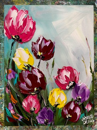 Painting by Giselle Denis Canadian fine artist of colourful tulips under a blue sky.