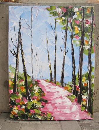 Painting by Giselle Denis Canadian fine artist of a colourful forest with a pink pathway