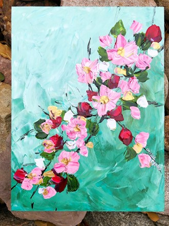 Painting by Giselle Denis Canadian fine artist of pink and red cherry blossoms on a green blue background